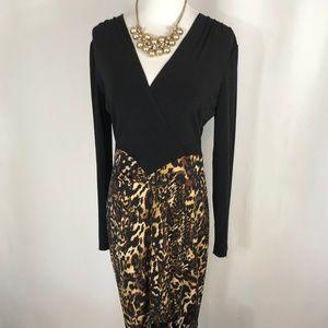 Cache Black and Leopard Print Stretch Dress